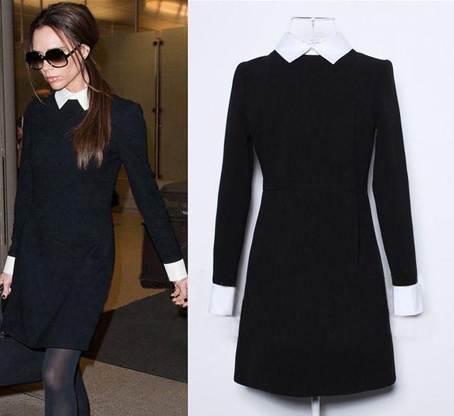 Vind meer jurken informatie over Winter fashion vrouwen kantoor zwarte jurk met…