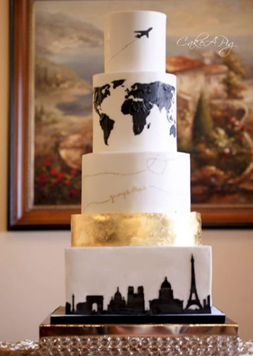Fun and quirky travel inspired wedding cake made with Satin Ice | Cake A Pig