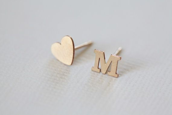 initial earrings for personalized jewelry, letter earrings, dainty earrings, heart earrings, love earrings, tiny studs - gold filled on Etsy, $20.00