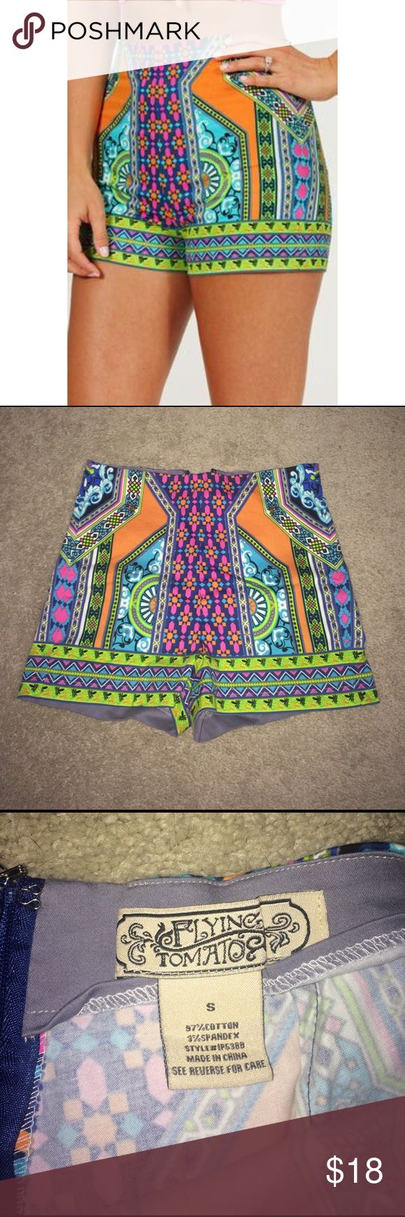 Small Shop Hopes Bright Patterned Shorts NWOT Small high waisted mini shorts from shop hopes! Super colorful and perfect for summer. Sadly never worn, in perfect condition! *all offers considered!* *smoke free home* Shorts