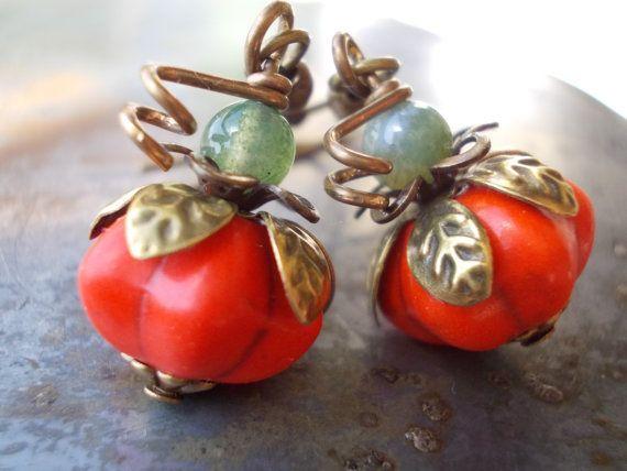 Pumpkin earrings Organic dangle drop earrings by karmelidesigns, $23.00