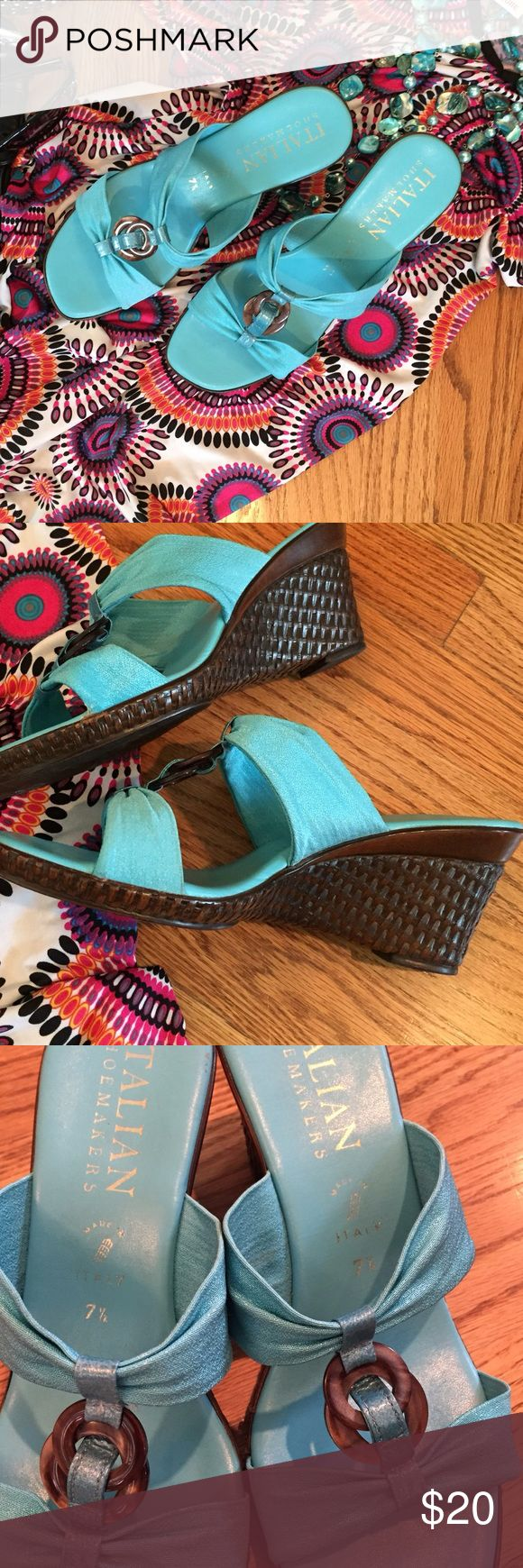 Italian Turquoise Wedge Sandals Gorgeous Italian Wedge Sandals in amazing condition, turquoise footbed with dark brown basket woven pattern heels. Italian Shoe Makers Shoes Wedges