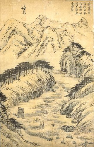(Korea) 계상아해도 by Gyeomjae Jeong Seon (1676- 1759). ink on paper.