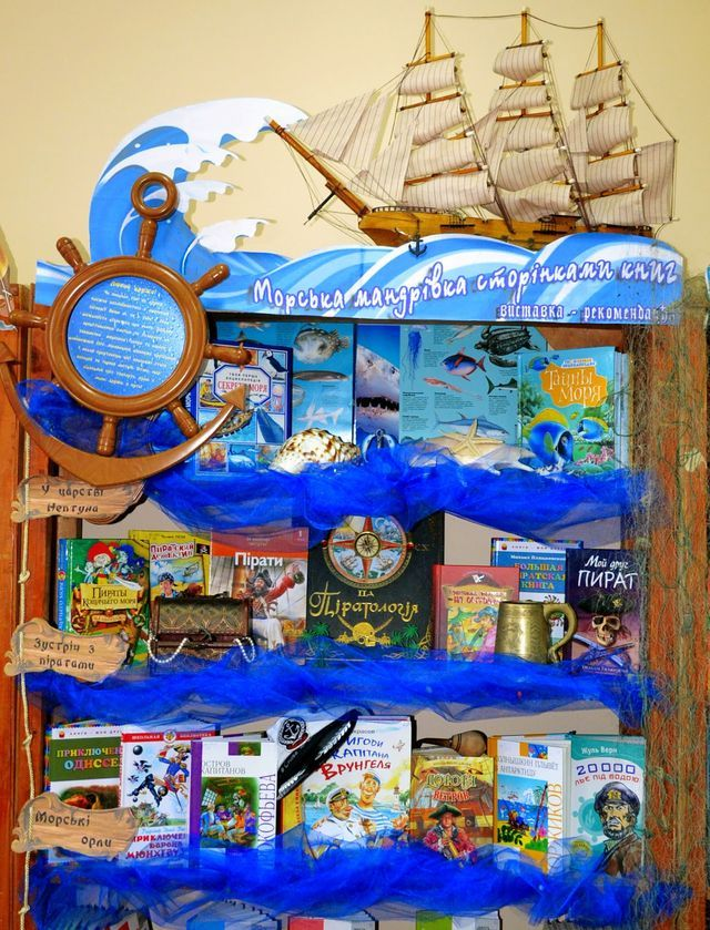 ByYuliyaAntonova A fabulous display from Yulia celebrating all things nautical.A quiz was included in this display - hidden pirate scrolls could be unfurled to reveal questions and at the end of the