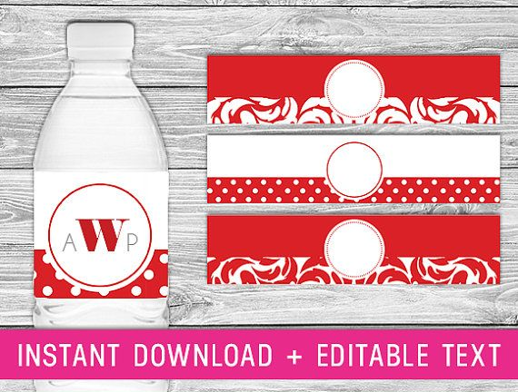 Printable Water Bottle Labels (red party decorations, personalized water bottle, red birthday, diy wedding decor, custom water bottle)