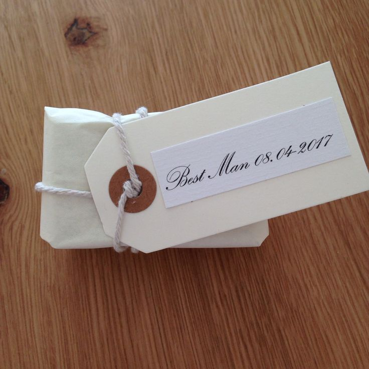 Asking your Best Man (who lives abroad). A small token (cufflinks) wrapped up with a luggage tag that was printed from a home computer!!