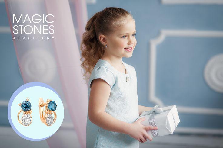 Детские серьги для Вашей маленькой принцессы!☀ Подарки всегда дарят радость и незабываемые эмоции! ✨ Детские серьги с топазом london от MAGIC STONES💙 арт 09-1-001-11 вес 2,66 гр.
