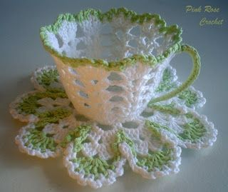 PINK ROSE CROCHET /: Xícara Verde Branco Crochet Tea Cup