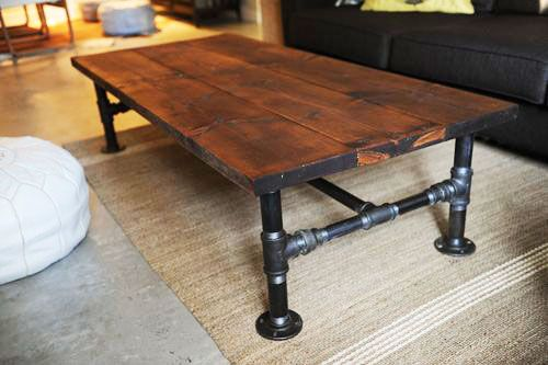 ... your own factory cart-style coffee table with reclaimed cedar fence