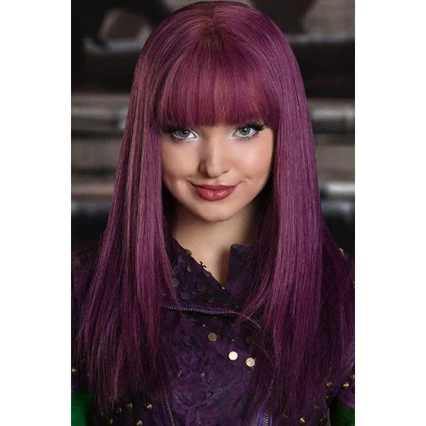 Purple Descendants 2 Mal Neat Bang Long Straight Cosplay Wig ($35) ❤ liked on Polyvore featuring beauty products, haircare and hair styling tools