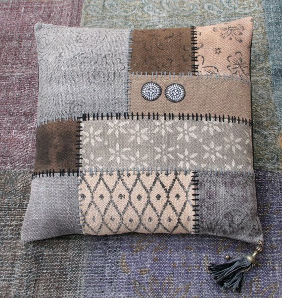 Handmade vintage kelim patchwork cushion by KussenvanPaula on Etsy