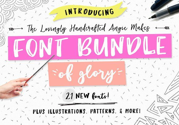 Angie Makes Font Bundle of Glory by Angie Makes on @creativemarket