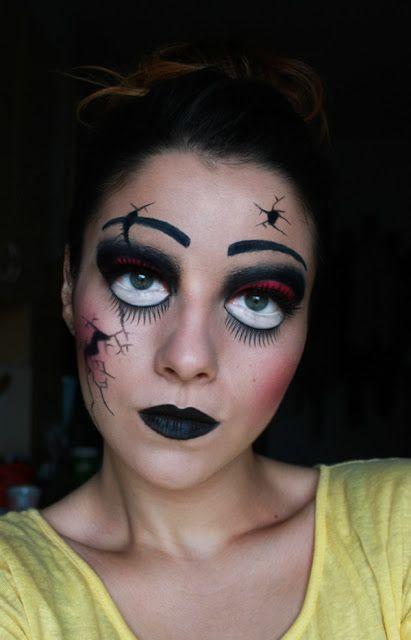 Halloween Makeup : Creepy Broken Doll