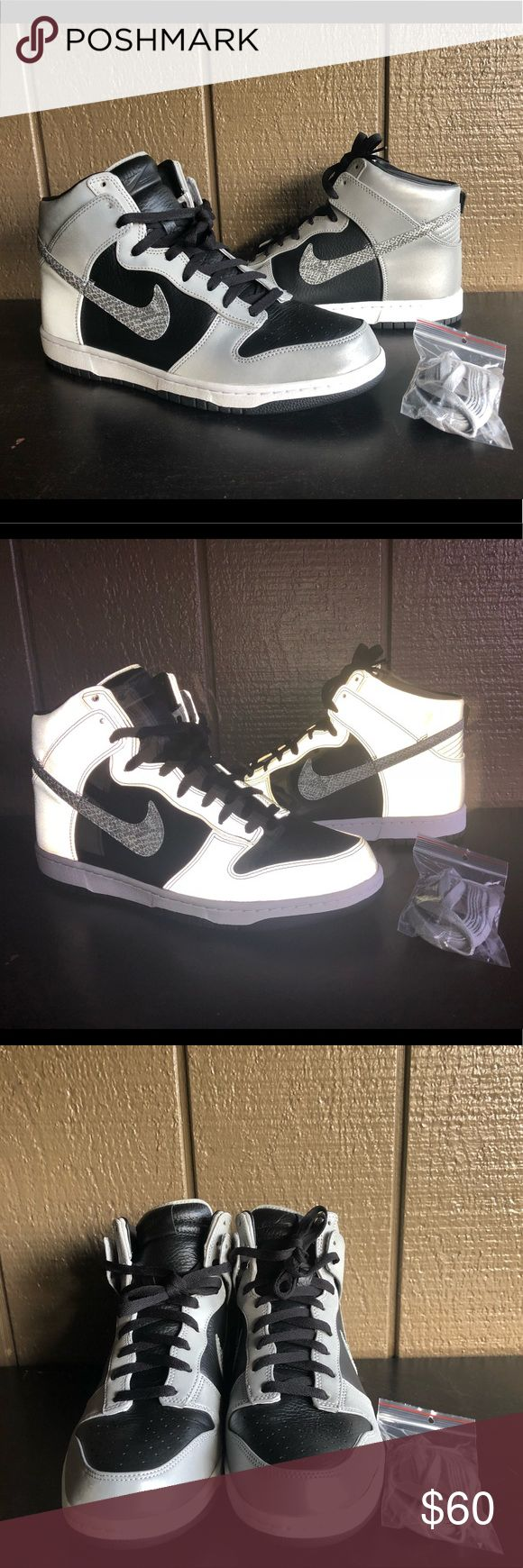 "Dunk Premium High SP ""3M Snake"" Men's Shoes Sz 12 Dunk Premium High SP ""3M Snake"" Men's Shoes Sz 12  Brand : Nike  Style Code : 624512-100  Color : White/Black-Reflect Silver  Size : Men's 12  Material : Leather  3M Reflective when the shoes hit the light  Worn once  In excellent condition  Comes with original box.  Box is damaged but works. Nike Shoes Sneakers"