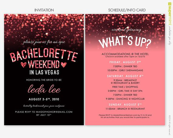 sparkly pink black vegas bachelorette invitation and schedule info card customized digital printable file harolds gettin hitched pinterest vegas