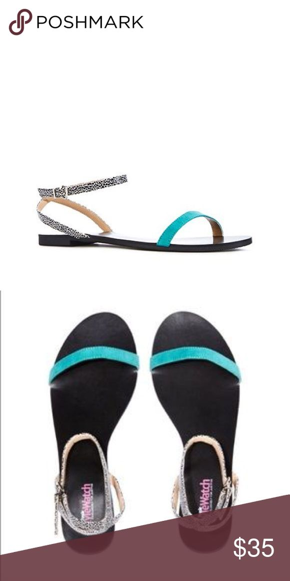 JustFab & People StyleWatch Collab Sandals These are too cute!! JustFab & People Style Watch collaboration collection. Black with turquoise and black/white ankle straps. Size 7. Never worn but pretty sure the box is long gone!! JustFab Shoes Sandals