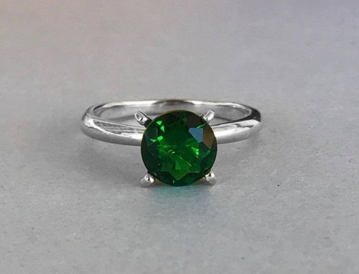 Round Natural Green Topaz Solitaire Engagement Ring, Solid Sterling Silver Round Green Topaz Stone Engagement Promise Women's Ring by SimplySilvery on Etsy