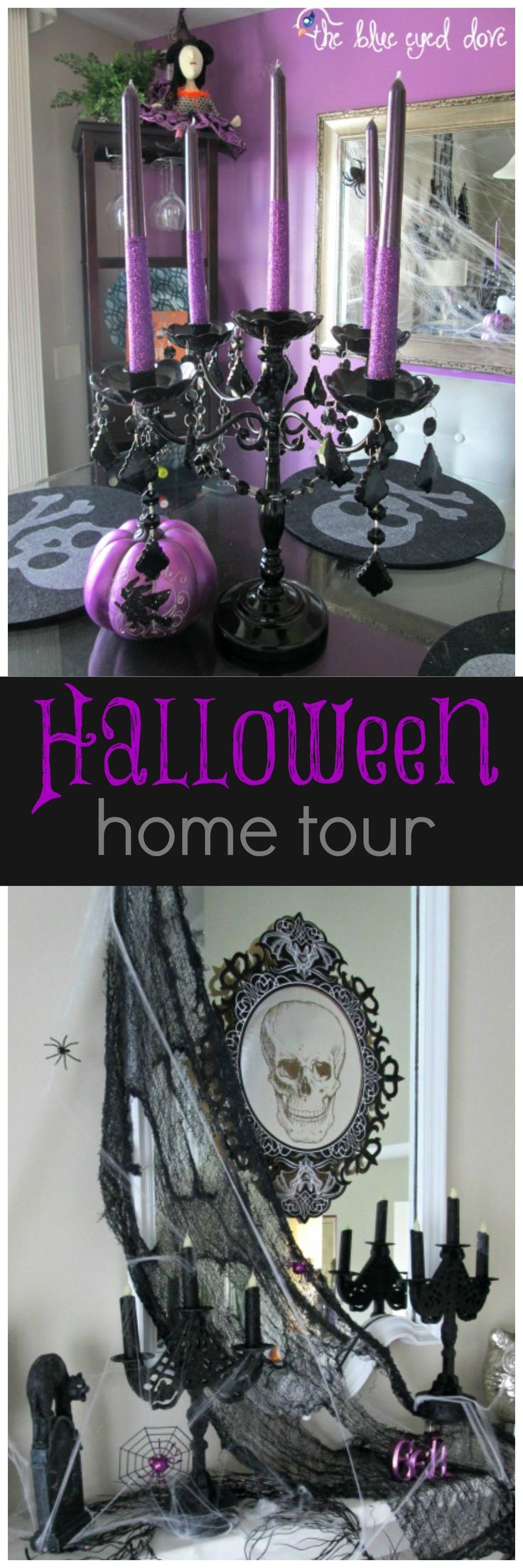 Halloween Home Tour - full of glitz, glam and a few things spooky! theblueeyeddove.com