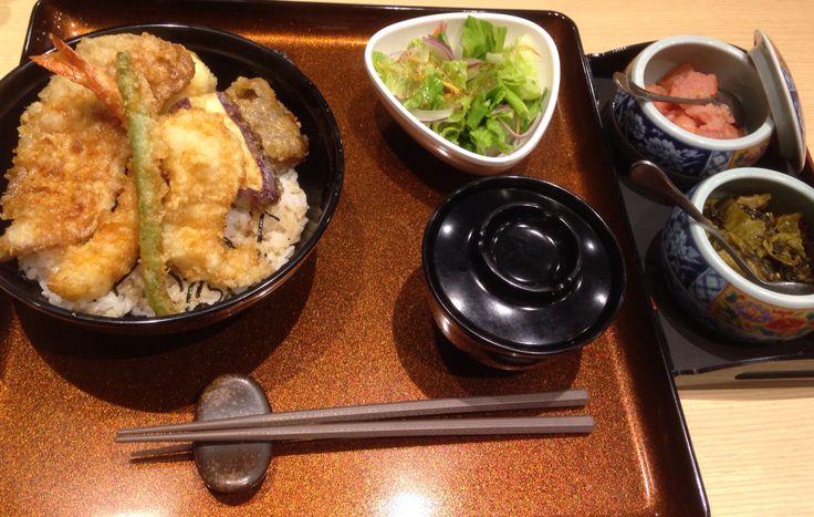 Tempura Bowl with miso soup and salad.