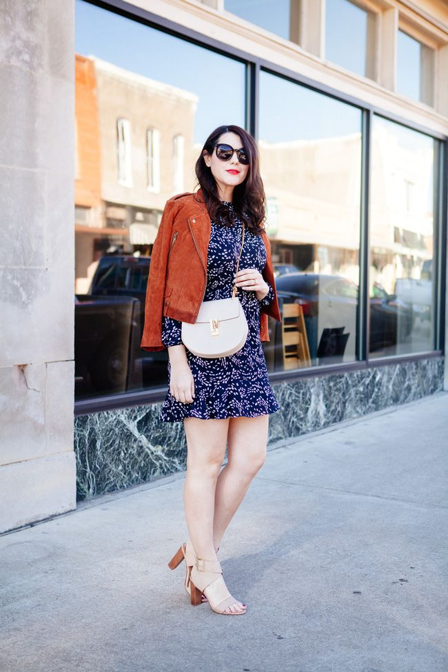 suede jacket and navy floral mini dress from style blogger kendi everyday