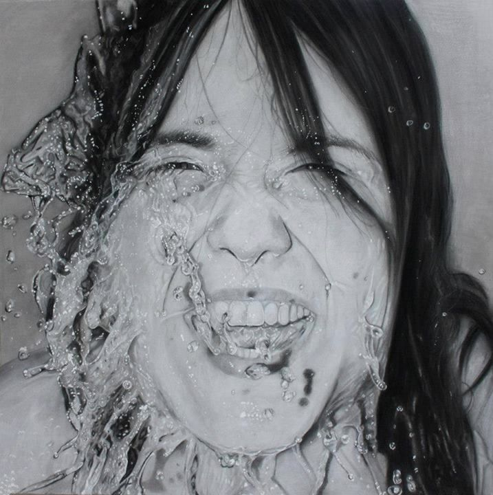 """Scream"" 60 x 60 cm Mixed Meda (charcoal, white pastel, acrylic) on canvas"