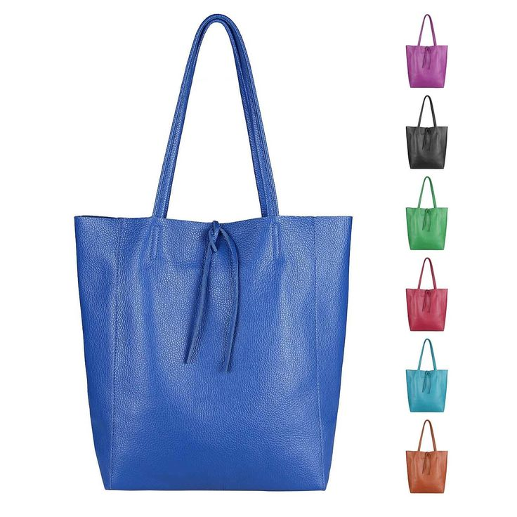 OBC Made in Italy WOMEN'S LEATHER BAG DIN A4 Shopper Shoulder Bag Tote Tote Bag Metallic Handbag Shoulder Bag Bucket Bag
