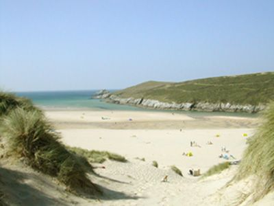 The amazing Crantock beach in Cornwall with the sand dunes and estuary - great place.