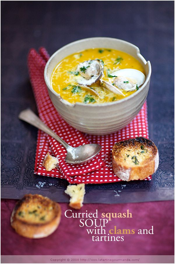 OH YUM! Curried Winter Squash Soup with Red Lentil, Coconut Milk and Clams, use GAPS legal bread for the tartines and raw cheese :): Soups, Curried Winter, Gaps Legal, Red Lentils, Squash Soup, Coconut Milk, Food Photography, Winter Squash, Legal Bread
