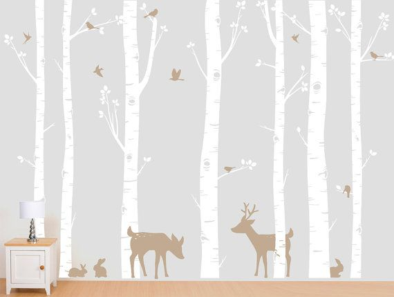 Seven birch tree wall decal with deer and bunny custom for Birch tree mural nursery