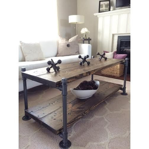 Industrial Wood Coffee Table Distressed Designs: 16 Best BELMONT Collection- Industrial Steel Pipe And Wood