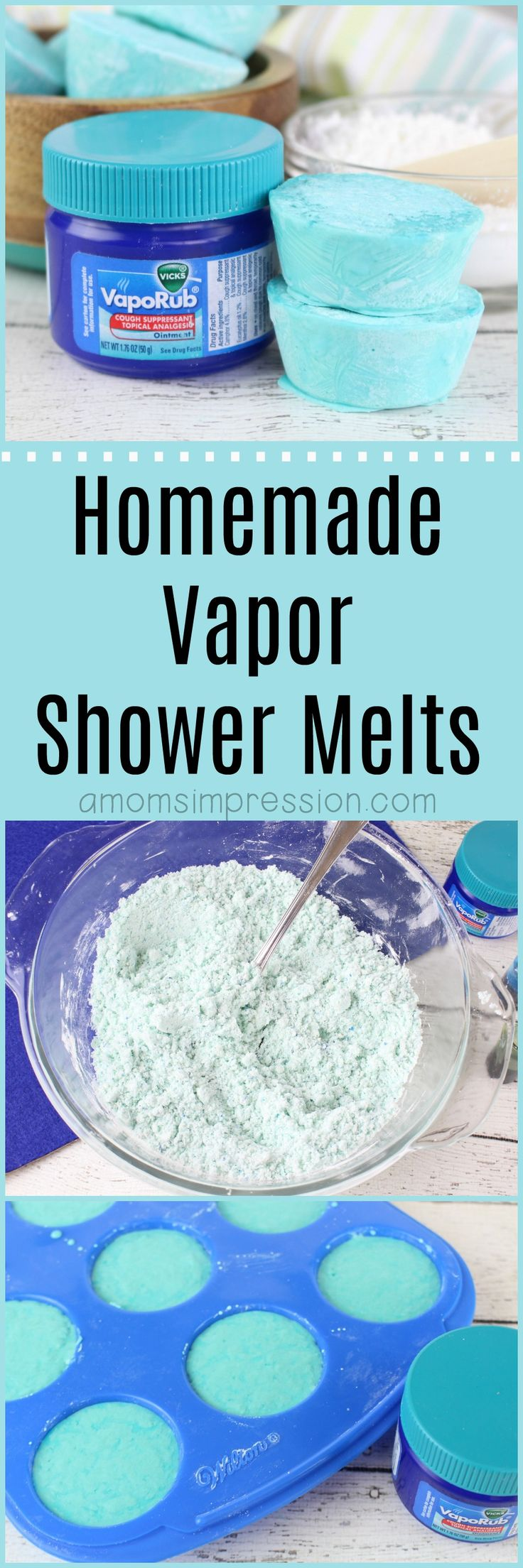 Love the discontinued Vicks shower melts? Make your own with this DIY vapor shower melts recipe. This recipe is without citric acid and uses vapor rub giving your shower the eucalyptus smell that is perfect for those of us who suffer from allergies or sinus pressure. #showermelts via @kjhodson
