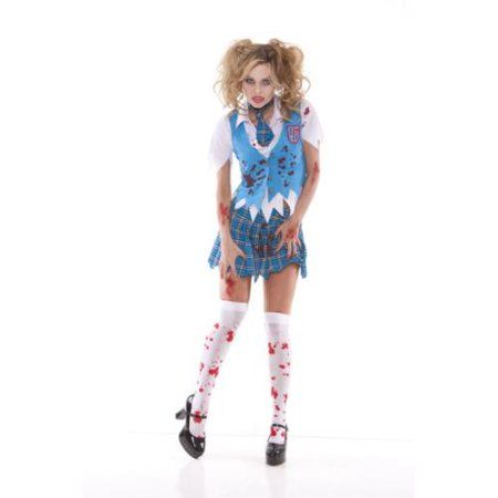 Adult Zombie School Girl Costume Elegant Moments 9854, Small, Blue