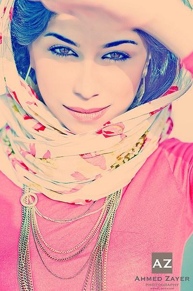 Beautiful woman and floral hijab
