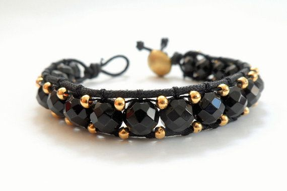 Black Single Wrap Bracelet with Semi Precious Stones by byshushu, $30.00