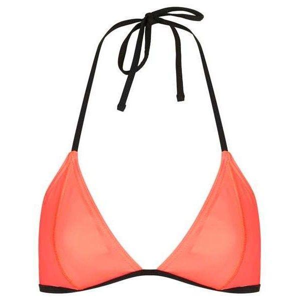 TopShop Triangle Bikini Top (6.61 CAD) ❤ liked on Polyvore featuring swimwear, bikinis, bikini tops, tankini tops, triangle swimsuit top, topshop swimwear, swim tops and triangle bikini top