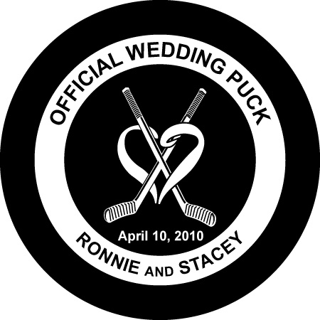 Custom Printed Hockey Pucks - Wedding and Anniversary