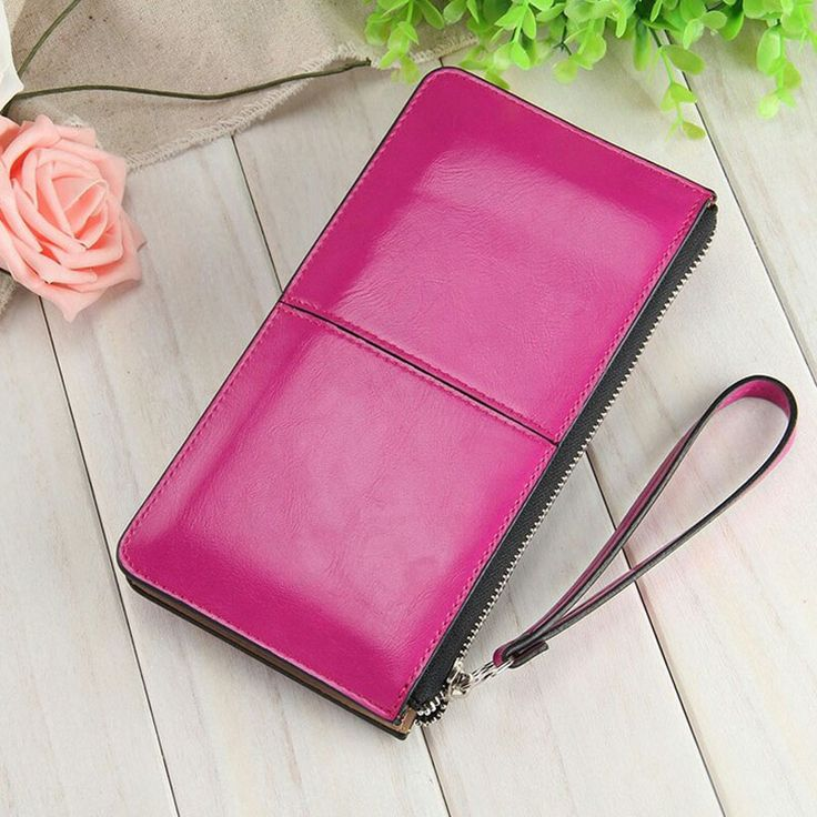 Women famous brand Oil wax leather zipper clutch wallet female candy color burglar robbed purse lady Multi-function phone bag #womenwallets #wallets #clutches