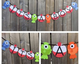 itu0027s a boy gone fishing theme banner fish baby shower banner fish and bobber