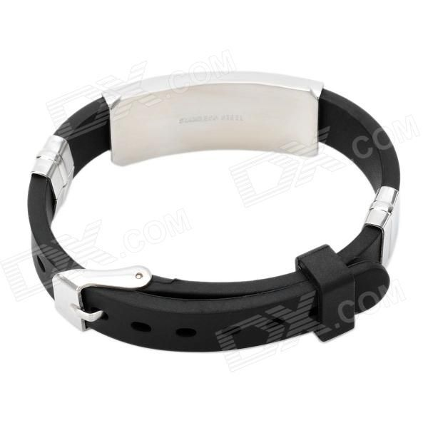 Fashion 10mm Stainless Steel Anion Pressure Reduction Magnetic Bracelet Bangle - Black + Silver