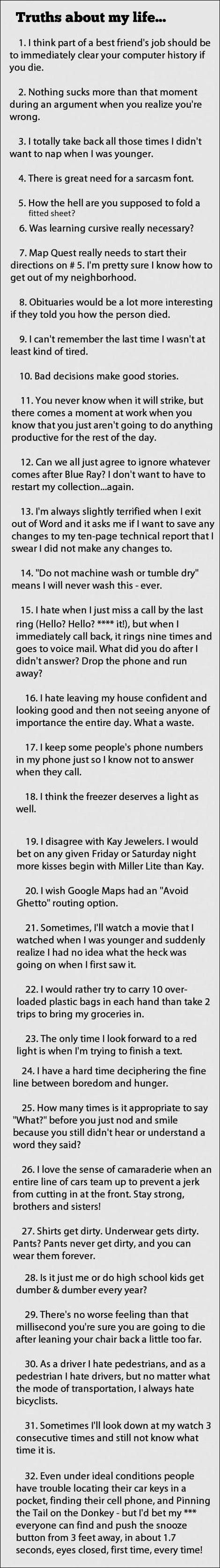 not even kidding, every single one of these is true!!