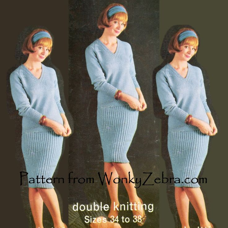 A Very sixties knitted jumper suit from Bellmans [number 460] with 3 different sweaters and a ribbed pencil skirt. Knitting pattern PDF WZ121 from WonkyZebra,com.