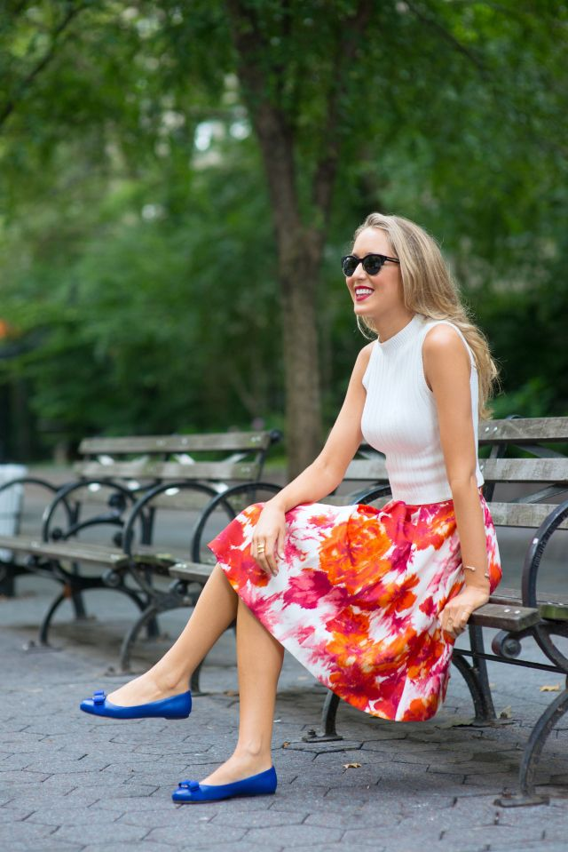 cobalt blue ballet flats with floral skirt and white top