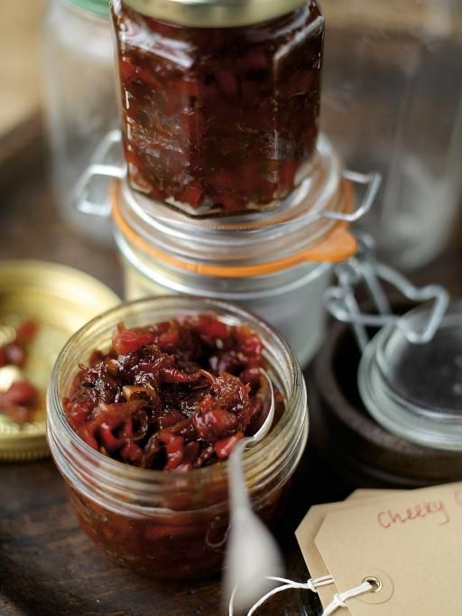 """Cheeky chilli-pepper chutney: This is a great chutney. The sweetness created in the cooking of the peppers calms the heat of the chillies, giving the chutney a lovely warmth. It's fantastic with crumbly cheese, smeared on toast with melted cheese or with Welsh rarebit. Also lovely stirred into gravy with sausages, or with cold leftover meats. Crack on and have a go."""