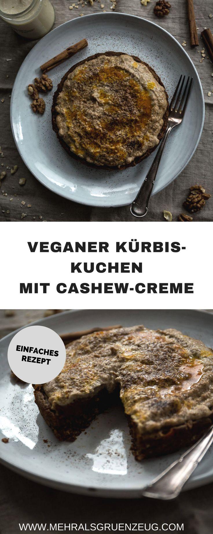 Ein einfacher Kürbiskuchen mit Cashew-Creme - vegan, gesund und absolut lecker! Mit vielen Gewürzen (Zimt, Vanille) und ohne Industriezucker. So schaut ein hyggeliger Herbst aus!