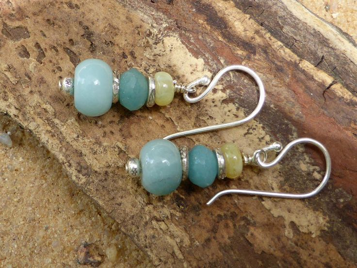 Amazonite Earrings Yellow Opal Earrings Hill Tribe Silver Sterling Silver Leverback Jewellery Blue Yellow Artisan Gemstones Designer Boho by Lapideum on Etsy