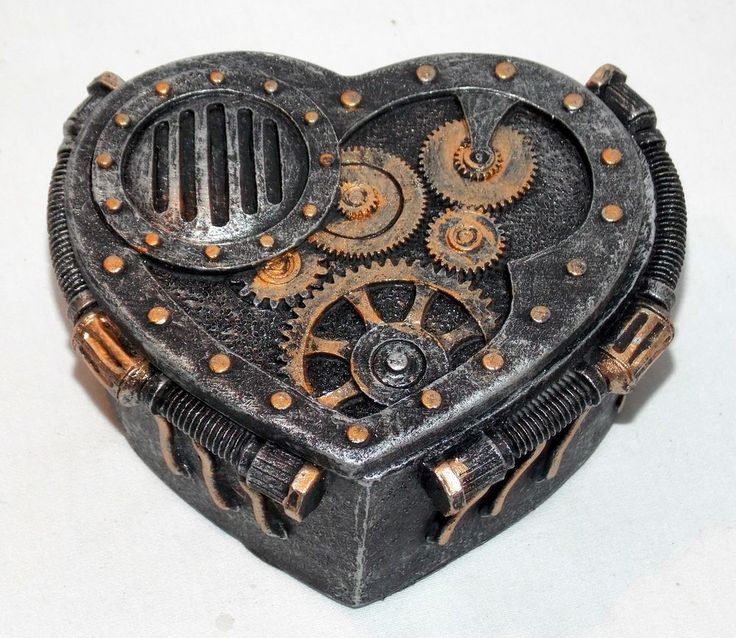 New Metallic Heart Shaped Steampunk Gears & Bolts Trinket Box Jewelry Box | Jewe…   – steampunk