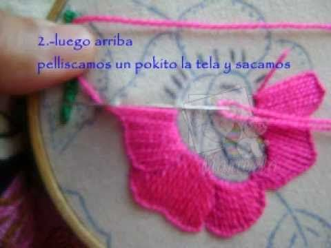 BORDADO DE FANTASIA..................FLOR AZUL - YouTube