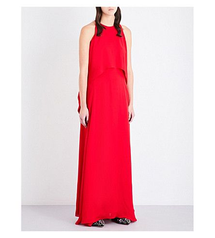 Rosetta Getty Woman Cold-shoulder Draped Silk-georgette Gown Red Size 10 Rosetta Getty Hurry Up yaSSqchs94