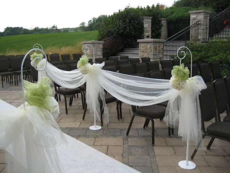 Aisle Markers. 4 Aisle Markers are 75.00 and 6 Aisle Markers are 95.00.  This includes setup, tulling and floral balls.  This rental can be used both indoors and outdoors.