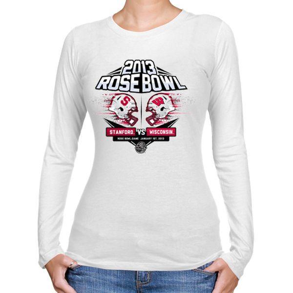 Wisconsin Badgers vs. Stanford Cardinal Women's 2013 Rose Bowl Dueling Exploding Long Sleeve T-Shirt - White - $6.99